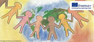 Zeichnung mit Figuren vor einer Weltkugel