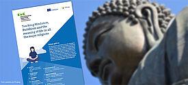 Buddhastatue und Coveransicht des Kits