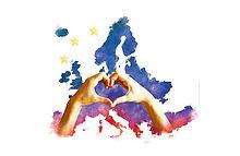 Plakatmotiv: zwei Hände formen Herz vor gemalter Europakarte
