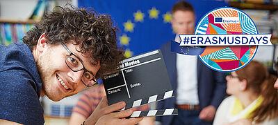 #ErasmusDays Logo und junger Mann mit Filmklappe